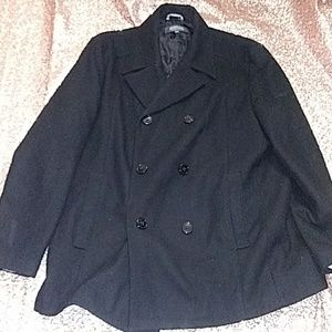 Black Kenneth Cole peacoat 3/4 length double-breas